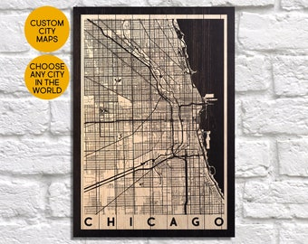 Chicago Map art print Wood map decor Chicago map wall art Chicago poster print gift for Husband gift for Parent gift panel effect Wood Map