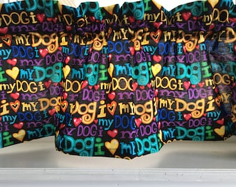 """Dog Puppy Words & Sayings Valance Curtain 42"""" W x 13"""" L"""