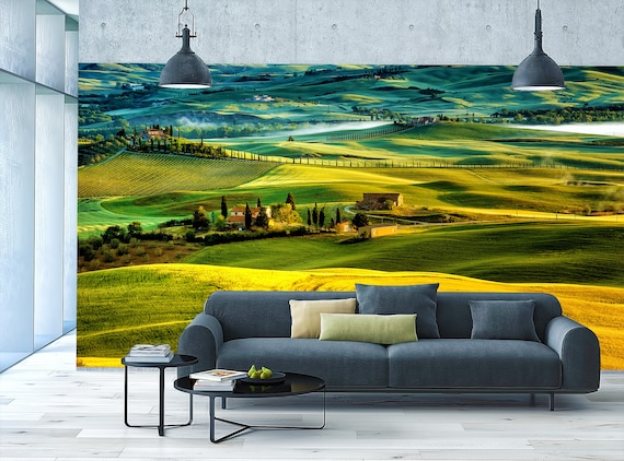 Tuscany Green Fields Wall Covering byTwalldecor