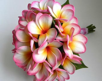 Plumeria Bridal Bouquet with Life-like Real Touch Artificial Plumeria in Color of Your Choice
