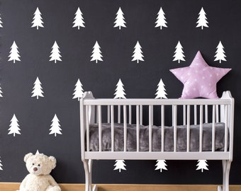 Pine tree decal, pine tree wall decal, tree wall decal, woodland nursery, woodland decal, pine tree sticker, vinyl wall decal, decals #046