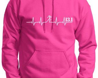 Girl Runner Heartbeat Hoodie 5K, 10K, 15K, 13.1 or 26.2
