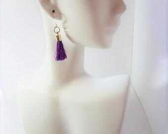 Earrings Deep Purple Tassels