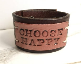 CHOOSE HAPPY on dark brown leather band with grommets