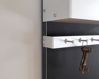 MODERN MESSAGE CENTER: Man Cave for Him Dad Wall Mount Chalkboard Office Organizer Magazine Holder with Key Hooks Coat Hooks Father's Day