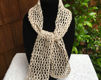 Linen Scarf, Hand Knit, Lacey Stitch, Lovely, Warm Weather Scarf