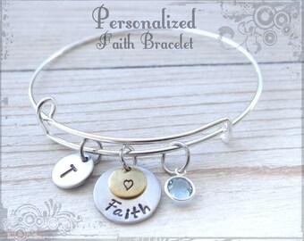 Faith Bracelet, Bracelet, Gift, Love Jewelry, Gift, Love and be loved charm, lucky in love, stamped bracelet, Faith