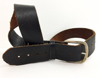 70s Black Leather Belt / Distressed Leather Belt / Vintage Black Leather Belt Size 36 Size 38 / Deliciously Destroyed Belt Vintage Belt