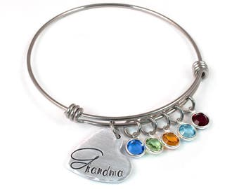 Birthstone Grandma Expandable Bangle - Gift for Grandma - Grandmother's Bracelet - Mommy Jewelry - Adjustable Bangle - Expandable Bracelet