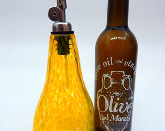 Lovely Yellow Hand Blown Oil and Vinegar Cruet ,Bottle, Bottle Pourer  by Rebecca Zhukov