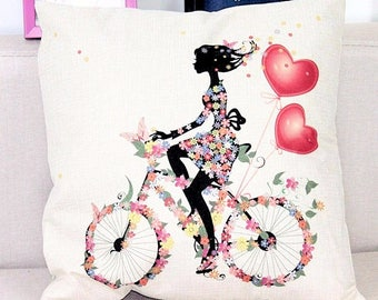 Bright and Beautiful Girl on a Bicycle Cushion/Pillow Cover-Home Decor, throw pillow cover,