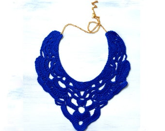 Maxi Crochet Necklace. Ultramarine.