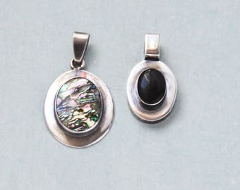 2 Vintage Sterling Silver Oval Pendants -  black onyx and abalone shell cab centers - 925 Mexico jewelry making supplies
