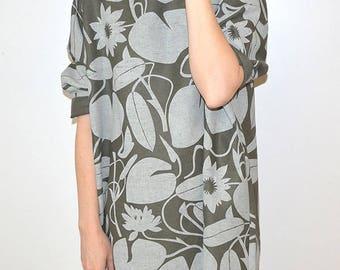 Lotus Print - Green Linen Dress