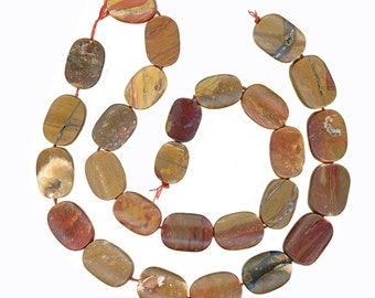 """Natural Petrified Wood Beads 16"""" Strand Tapered Rectangles"""