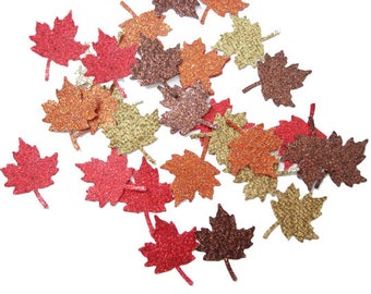 50 Glitter Maple Leaf Confetti, Thanksgiving Party Supplies - No595