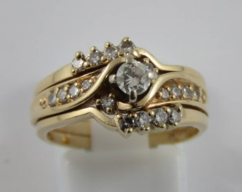 14K Yellow and White Gold Diamond Engagement Ring and Wedding Band Set- SIZE 6 1/2