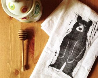 wood block print black bear tea towel by color.joy.