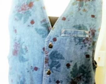 80s Denim Stone Washed Flower Vest
