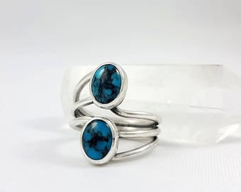 LaoOne * Sterling Silver Ring * with two stunning Turquoise