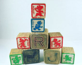 Vintage Assorted Disney Other Wooden Alphabet Blocks