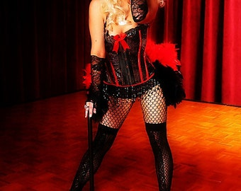 DIVA Burlesque dress Showgirl costume red black ringmaster gothic corset