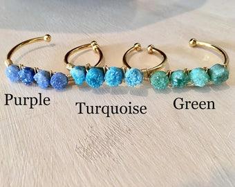 Small Druzy Cuff Bracelets