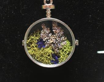 Clear Terrarium Pendant Necklace with Purple Flowers