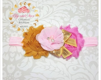Pink and gold headband, pink and gold shabby flower elastic headband, soft baby headband, toddler headband, photo prop