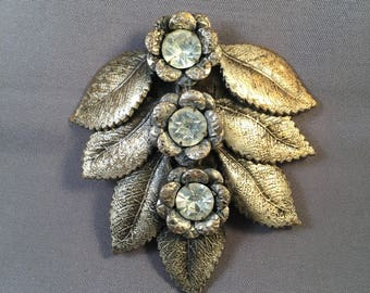 Pretty 1930's Art DECO Floral Dress Clip, with Silver Plated BRASS and Large Rhinestones