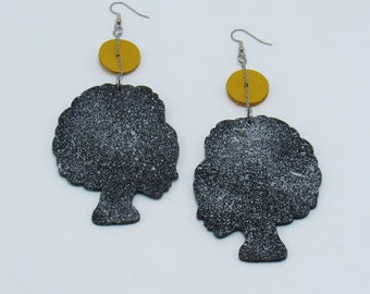 Leather & Wood Afrocentric Large Woman's Head Earrings