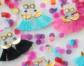 Bohemian Tassel Earrings, Fringe Earrings, Black Tassel Earrings, Turquoise Tassel Earrings, Pink Tassel Earrings