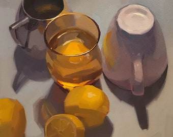 "Fine Art painting still life ""Lemon Water"" 10x10"" original oil on canvas by Sarah Sedwick"