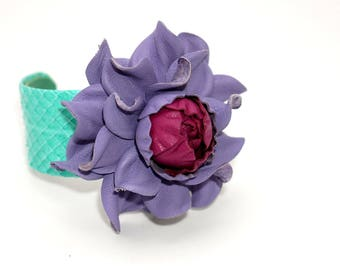 Stunning genuine violet leather flower, mint snake skin cuff, snakeskin covered metal based open end cuff bracelet with real leather rose