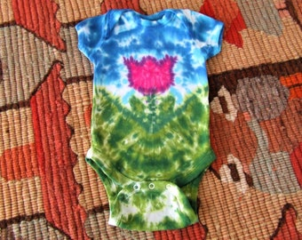 Newborn Tie Dye Baby Onesie - Tulip Lane - Purple and pink - Ready to Ship