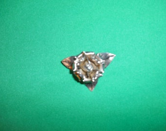 One (1),  .900 Mexican Silver, High Relief, Rose & Leaf, Brooch/Pin, with Safety Clasp.