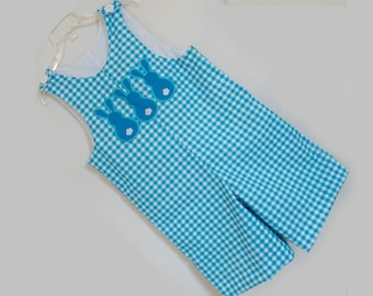 Easter Bunny Boy's Shortall Jon Jon Appliqued with 3 Bunnies.  Free Shipping in US  Infant, Baby, and Toddler 3-6 6-12 12-18 18-24 2t 3t 4t