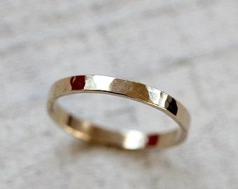 Gold hammered ring thin 14k gold band ring