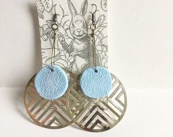 Tribal Silver Earrings with Hand-sculpted Blue Medallions, Handmade Earrings, Big Hippie Earrings, Bohemian Dangle Earrings, Silver and Blue