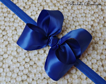 Boutique Royal Blue Satin Headband Big Bow Headband Royal Blue Baby Headband Toddler Headband Large Bow Headband Christmas Bow