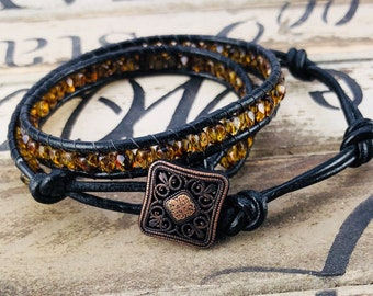 Copper and Gold Leather Wrap Bracelet, Women Boho Beaded Bracelet, Gift for Her