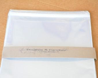 """150 Resealable Cello bags size 8 1/4"""" x 10 1/8"""" -Transparent Cello Bags -Self Adhesive Cello Bags -Food Safe Cello Bag -Clear Cellophane Bag"""