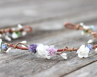 Lavender Flower Crown, Lilac and Purple Flower Crown, Floral Hair Wreath, Toddler Flower Crown, Girls Flower Crown, Floral Hair Wreath Ivory