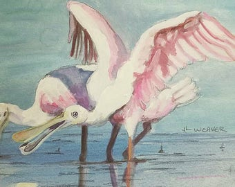 Two Spoonbills Having A Discussion Original Watercolor and Gouache Painting