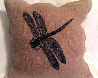 "Dragonfly, burlap and muslin printed, 14"" decorative pillow, rustic, natural, home decor"