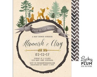 Woodland Baby Shower Invitation / Deer Baby Shower Invitation / Couples Baby Shower Invitation / Gender Neutral Coed Animal Modern TR01