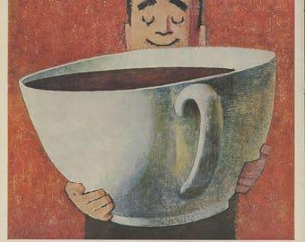 1959 Vintage Sanka Coffee Ad - John Falter Illustration - Coffee Print Ad - Retro Coffee Nostalgia - 1950s Kitchen Decor - Magazine Ad