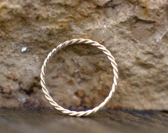 1.2mm gold wedding band, 14k gold ring, Wedding ring, Thin gold band, Twist ring, Stacking ring, Wedding jewelry, Promise ring