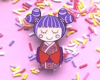 SECONDS SALE! Cute Doll Enamel Pin, Sakura Kokeshi pin, kawaii pin, kawaii jewelry, kawaii fashion, kawaii accessories, Japanese doll brooch