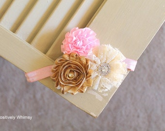Pink Gold Ivory Headband, Gold & Pink Headband, Flower Girl Headband, Flower Girl, Baby Headband, Flower Headband, RTS, Ivory, Gold, Pink